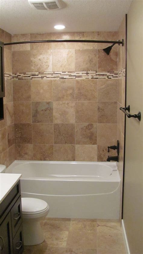 Tub Shower Ideas For Small Bathrooms by Bathroom Looking Brown Tiled Bath Surround For