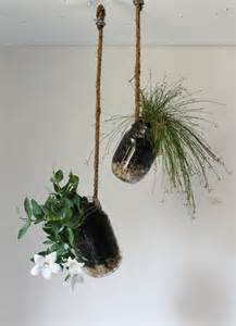 hanging jar planter with drainage upcycled home