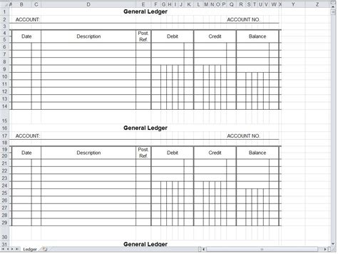 General Ledger Spreadsheet General Ledger Excel Template Excel Ledger Template