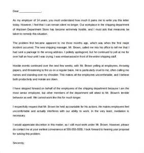 Complaint Letter Bullying In The Workplace Sle Workplace Harassment Complaint Letter Docoments Ojazlink