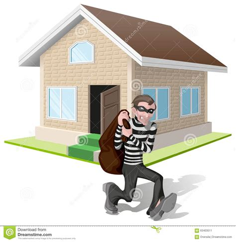 house property insurance robber in mask carries bag thief robs house property insurance stock vector image