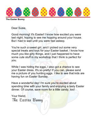 morning letter printable easter morning letter from the easter bunny to a