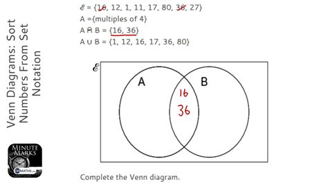 gcse maths sets venn diagrams venn diagrams sort numbers from set notation grade 5