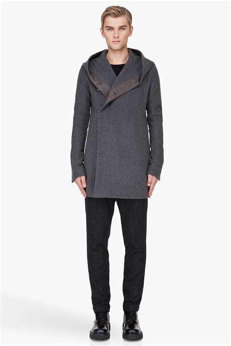 Pb Stradivarius Hem Lyst Rick Owens Hooded Wool Pea Coat In Gray For
