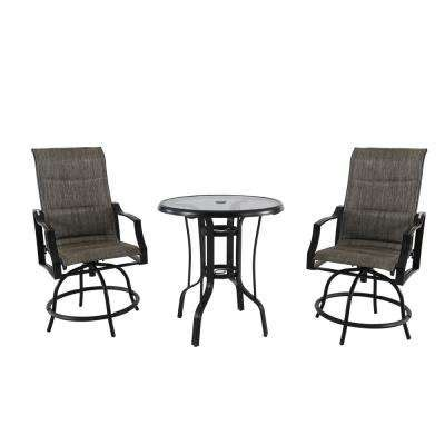 hton bay oak cliff custom 3 piece metal outdoor balcony bistro sets patio dining furniture the home depot