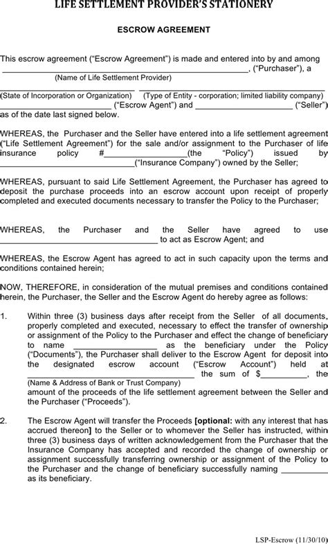 escrow account agreement template escrow agreement free premium templates