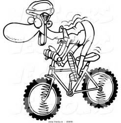 vector of a cartoon mountain biker coloring page outline