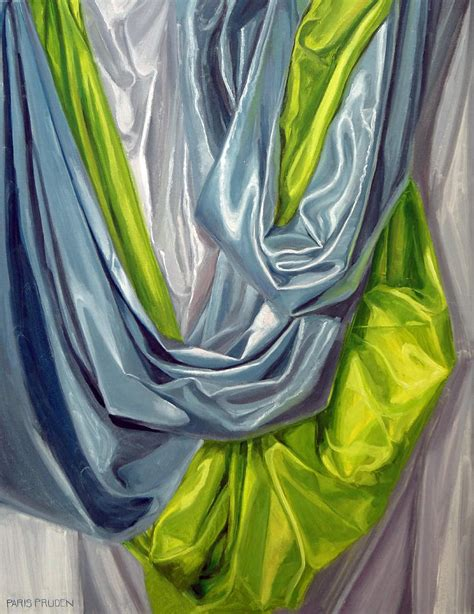 Drapery Painting green and blue drapery study painting by nancy pruden