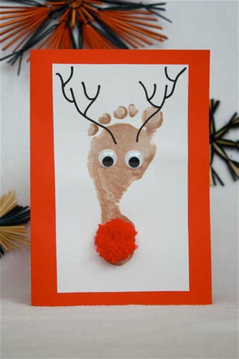 childrenss reindeer christmas crafts images footprint reindeer card allfreechristmascrafts