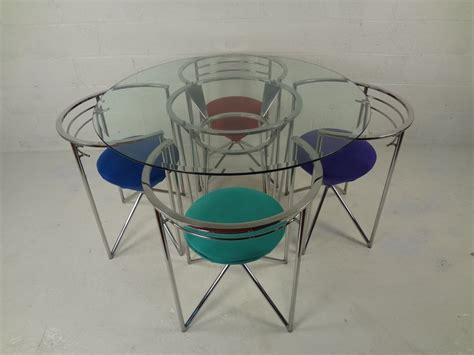 retro chrome table and chairs 70s retro glass chrome dining table and chairs image 2