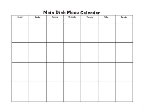 calendar menu template menu calendar templates 10 printable pdf documents