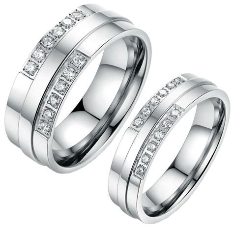 his and hers stainless steel coulple ring matching
