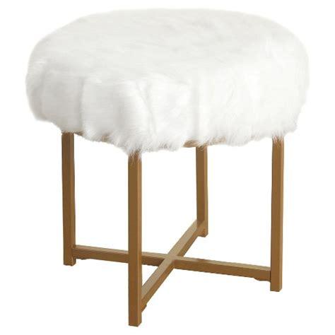 white fur ottoman target faux fur white round stool homepop target