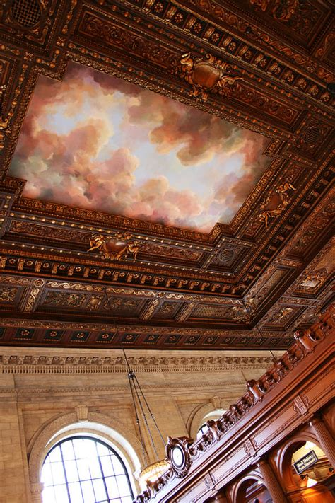 New York Ceiling New York Library Interior Ceiling Fresco Photograph By