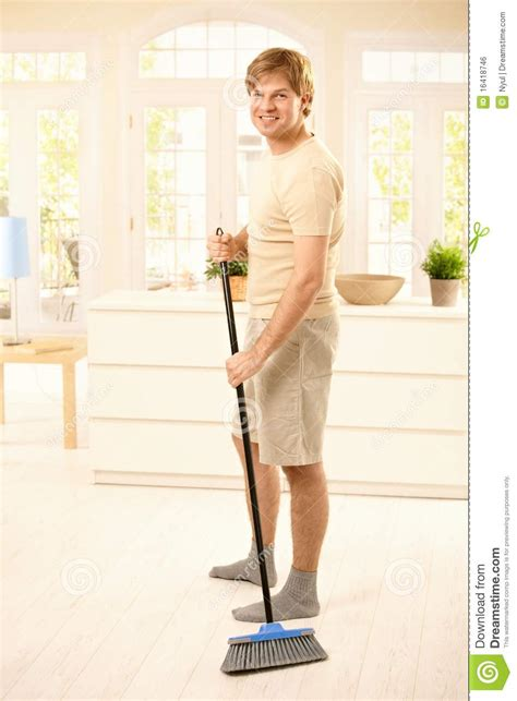 Beach House Plans Free Guy Sweeping The Floor Royalty Free Stock Image Image