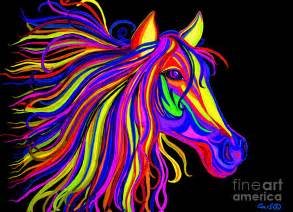 Neon Shower Curtain Colorful Rainbow Horse Head Digital Art By Nick Gustafson