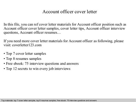 Accounts Officer Cover Letter by Account Officer Cover Letter