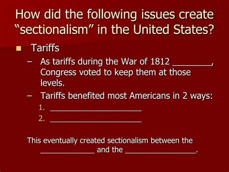 sectionalism in the united states ppt objectives for goal 2 expansion and reform