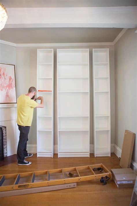 ikea bookcase built in hack the makerista laura s living room ikea billy bookshelves