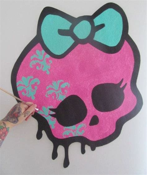 girly graffiti wallpaper handpainted huge monster high girly skull bow logo