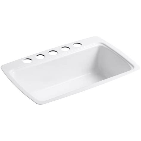 Kohler Kitchen Sink Racks Kohler Cape Dory Undermount Cast Iron 33 In 5 Single Basin Kitchen Sink In White With