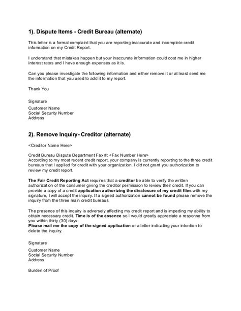 Dispute Credit Inquiries Letter Credit Dispute Letters