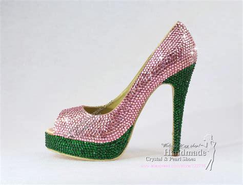 new handmade pink and green heels peep toe gift