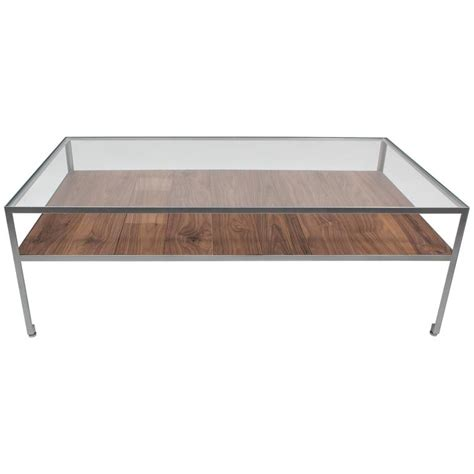 angle steel coffee table with nickel frame glass top and