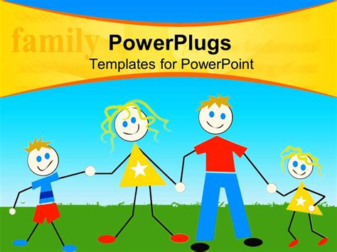 Powerpoint Template A Family Of Four Cartoon Characters On A Green Field 15673 Powerpoint Templates Family