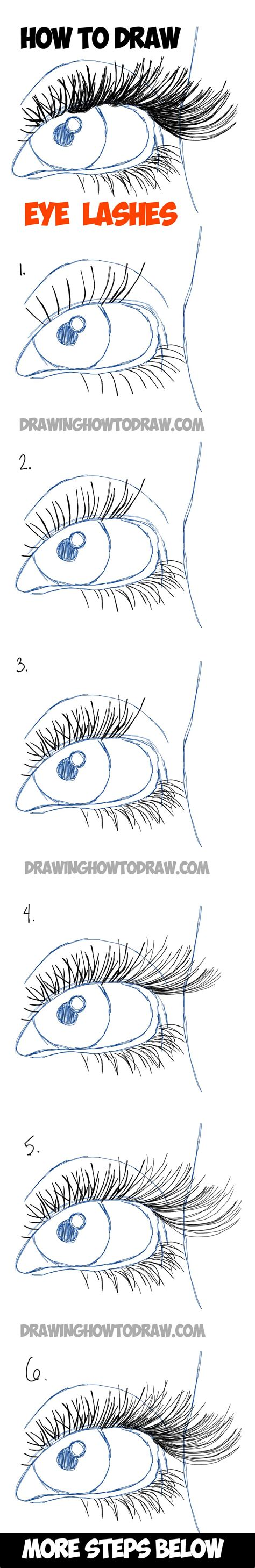 learn how to draw eye lashes with step by step illustrated