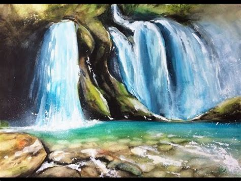 watercolor waterfall tutorial watercolor waterfall painting demonstration youtube
