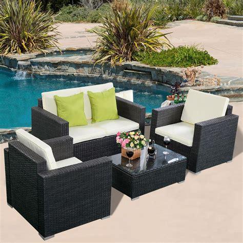 4 wicker patio furniture convenience boutique outdoor patio furniture set wicker rattan sofa cushioned seat 4