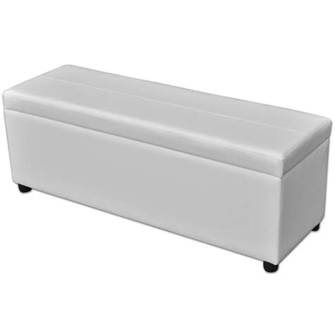 vidaxl long storage bench wood white vidaxl com