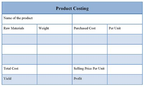 Cost Template product costing template of product costing sle