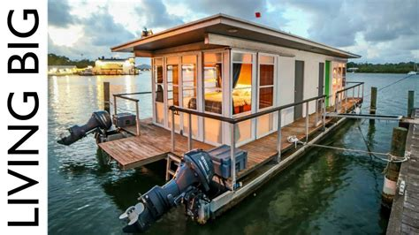 boat home life on the water in a tiny house boat youtube