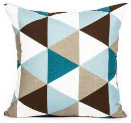 modern sky blue teal brown triangle pattern throw pillow