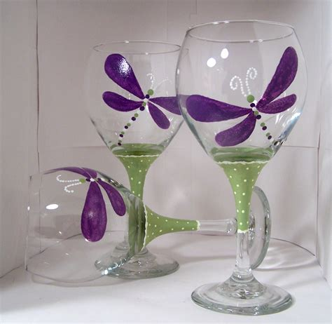 wine glass painting painted wine glass dragonfly craft ideas pinterest
