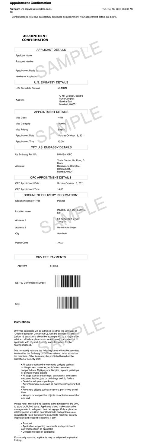 appointment letter format for embassy visa appointment letter