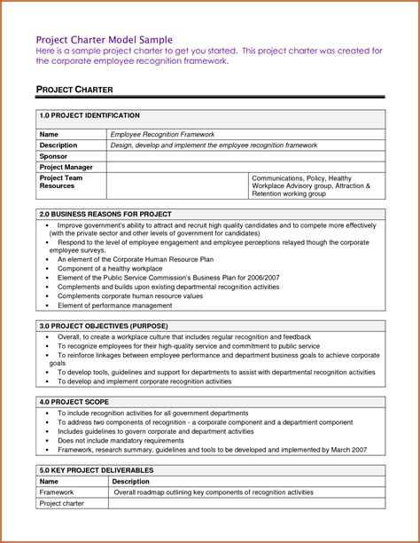 project charter template sop exle