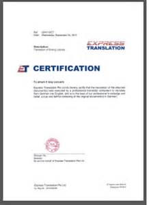 Certification Translation Letter Certified Translation Of Birth Marriage Driving License Diploma Certificates