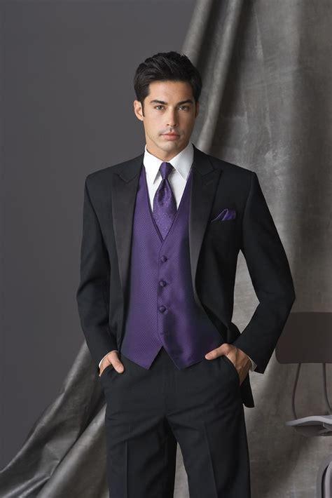 Regency Purple Tuxedo Vest & tie with black suit  David's