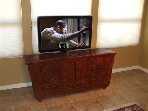 disappearing tv with pop up tv lift mounted furniture