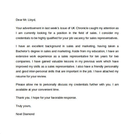 cover letter for sales representative sle cover letter exles for sale 14 free