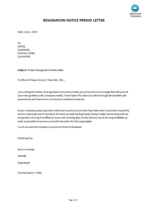 simple resignation notice letter template word templates