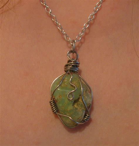 how to make rock jewelry with wire wire wrapped chrysoprase necklace by katlynmanson on