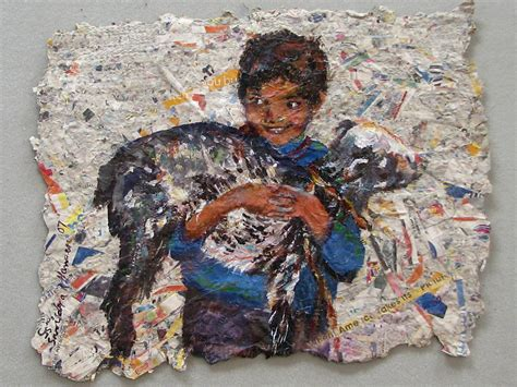 Handmade Paintings - child with goat on handmade paper painting by nomad