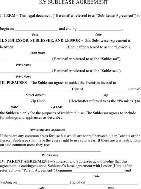 vehicle sublease agreement template kentucky rent and lease template free premium