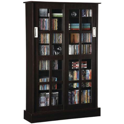 Dvd Cabinet With Glass Doors Black Friday Atlantic 94835721 Windowpane 576 Cd Or 192 Dvd Wood Look Cabinet With