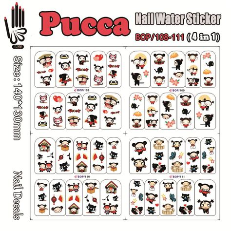 Sticker Water Decal Ble2335 4 sheets lot nail water decal bop108 111 pucca nail wrap water sticker for nail