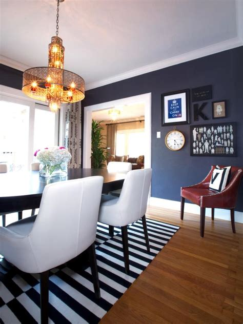 eclectic dining room  blue suede wallpaper striped